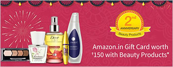 Amazon.in GC worth Rs 150 on purchase of Beauty products worth Rs 1000