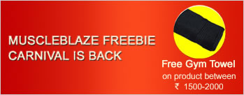 Buy MuscleBlaze product between Rs 1500 to Rs 2000 & Get Free Gym Towel + Extra 2% Cashback
