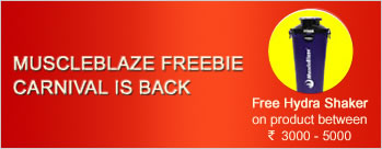 Buy MuscleBlaze product between Rs 3000 to Rs 5000 & Get Free Hydra Shaker + Extra 2% Cashback