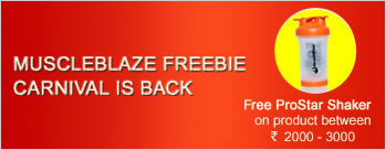 Buy MuscleBlaze product between Rs 2000 to Rs 3000 & Get Free ProStar Shaker + Extra 2% Cashback