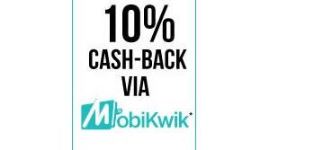 Flat 10%Cashback on paying through Mobikwik Wallet