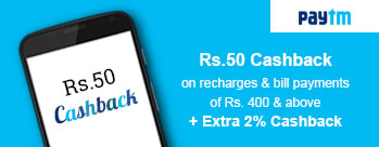 Rs 50 Cashback on DTH Recharge of Rs 500 or more + Extra 2.50% Cashback